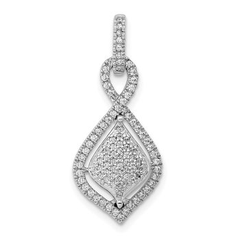 14k White Gold Pave 1/3ct. Diamond Fancy Dangle Pendant