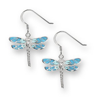 Blue Dragonfly Wire Earrings.Sterling Silver