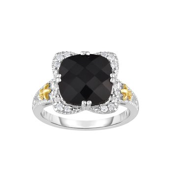 Silver & 18K Cushion Black Onyx Gem Candy Ring