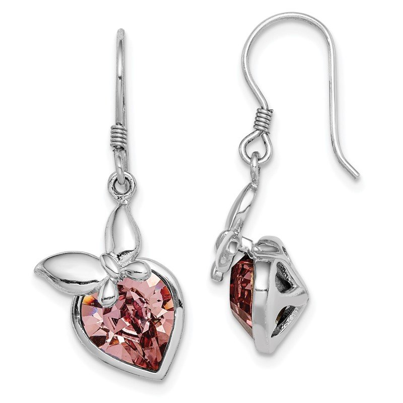 Quality Gold Sterling Silver RH-plated Pink Crystal Butterfly Heart Dangle Earrings