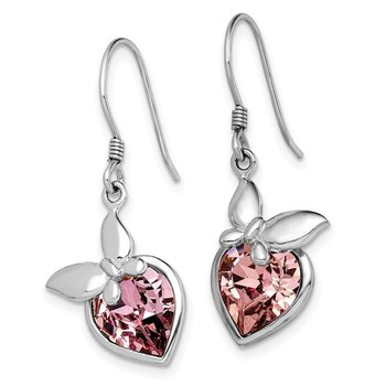 Sterling Silver RH-plated Pink Crystal Butterfly Heart Dangle Earrings