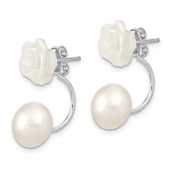 Sterling Silver Rhod-plated 8-9mm FWC Pearl/MOP Flower Front/Back Earrings