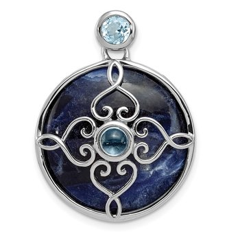 Sterling Silver Rhodium-plated w/Sodalite & Blue Topaz Pendant