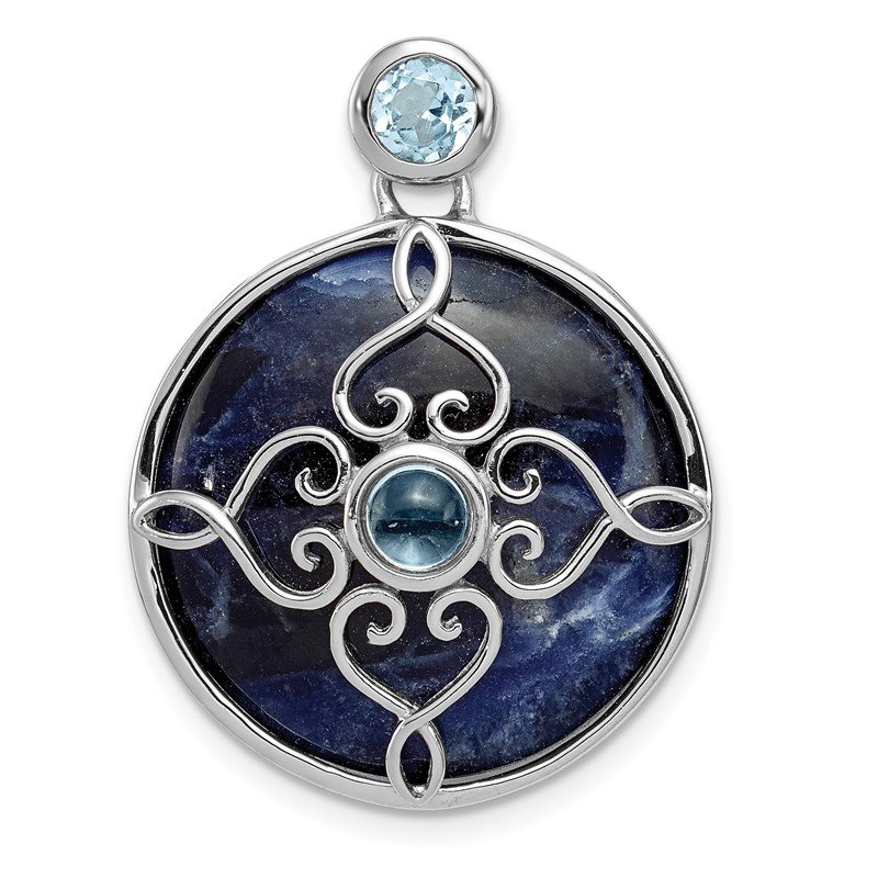 Quality Gold Sterling Silver Rhodium-plated w/Sodalite & Blue Topaz Pendant