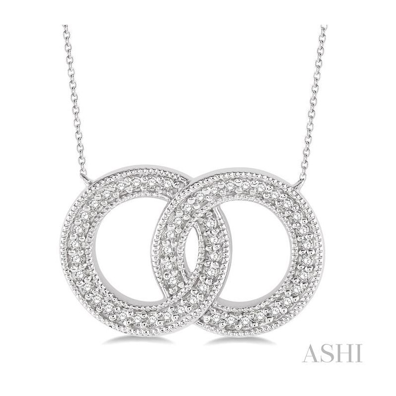 ASHI twin circle diamond pendant