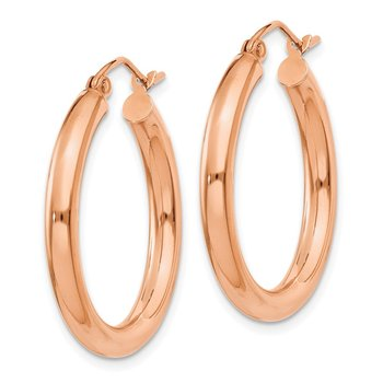 10K Rose Gold Polished 3mm Hoop Earrings