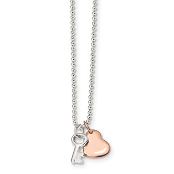 Sterling Silver Rose-tone Heart and Key 19 inch Necklace