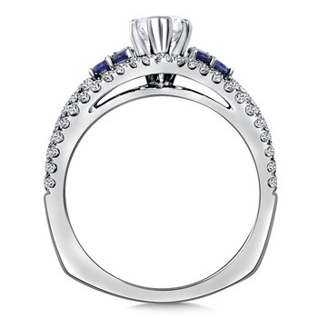Diamond & Blue Sapphire Engagement Ring Mounting in 14K White/Rose Gold (.53 ct. tw.)