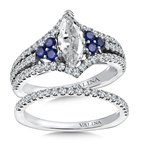 Valina Bridals Diamond & Blue Sapphire Engagement Ring Mounting in 14K White/Rose Gold (.53 ct. tw.)
