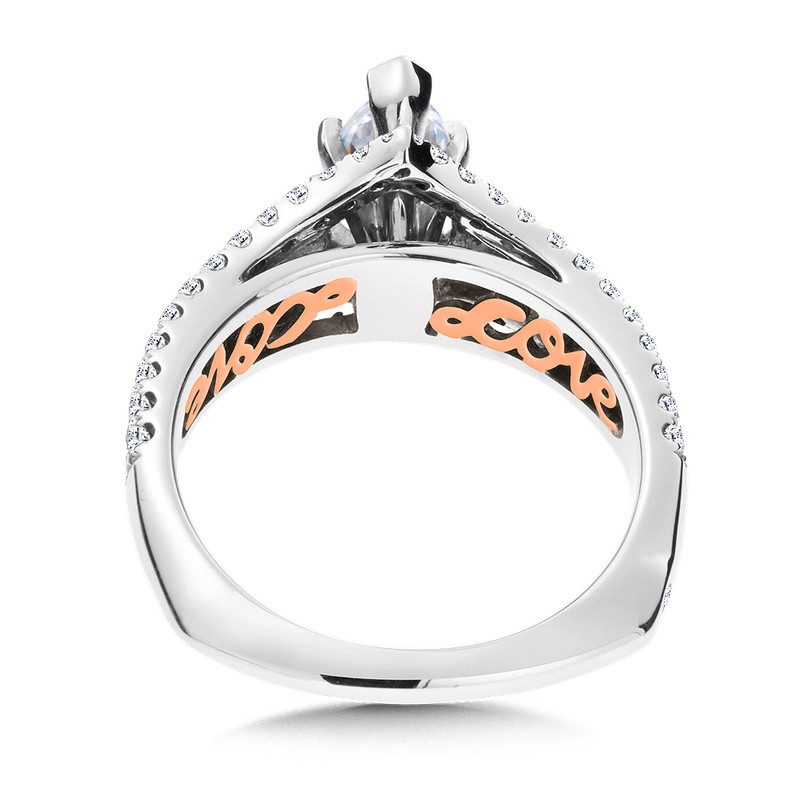 Valina Diamond & Blue Sapphire Engagement Ring Mounting in 14K White/Rose Gold (.53 ct. tw.)