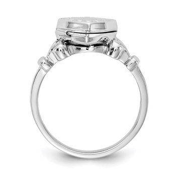 Sterling Silver Rhodium-plated 10mm Locket Ring
