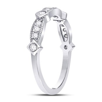 10kt White Gold Womens Round Diamond Milgrain Pinched Band Ring 1/4 Cttw