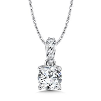 Diamond Solitaire Pendant with Diamond Bale in 14K White Gold (1-1/2 ct. tw.)