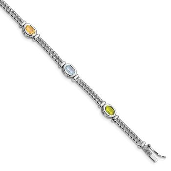 Sterling Silver Rhodium Plated Multi-Color Semi-Precious 8in Bracelet