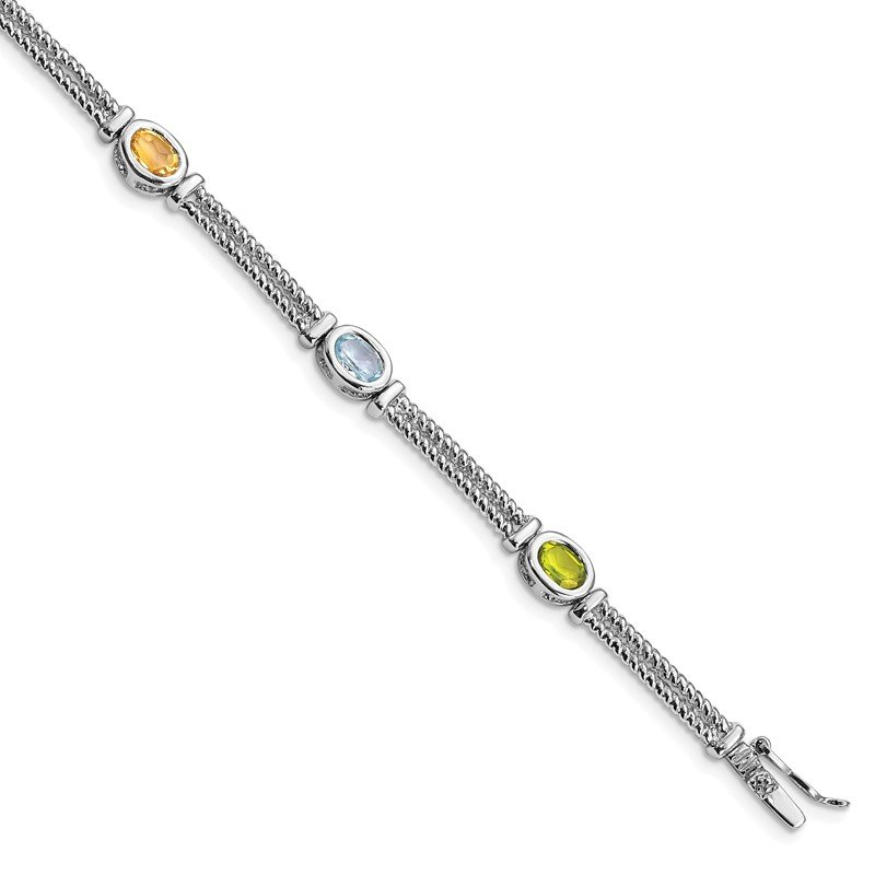 Quality Gold Sterling Silver Rhodium Plated Multi-Color Semi-Precious 8in Bracelet