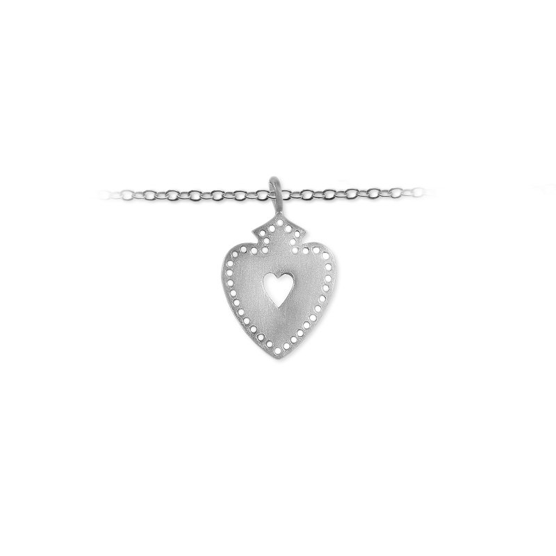 Slate and Tell 25mm Pierced Crusader Heart Charm