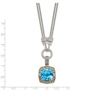 Sterling Silver w/14k Sky Blue Topaz & Diamond Necklace