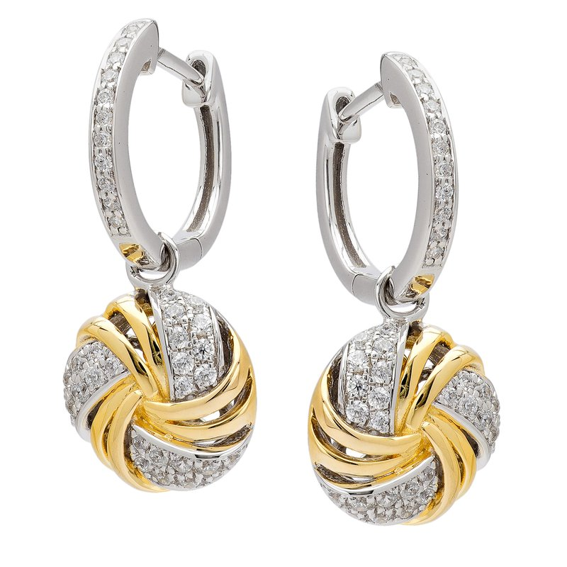 Signature Classics Collection Diamond Two Tone Drop Earrings