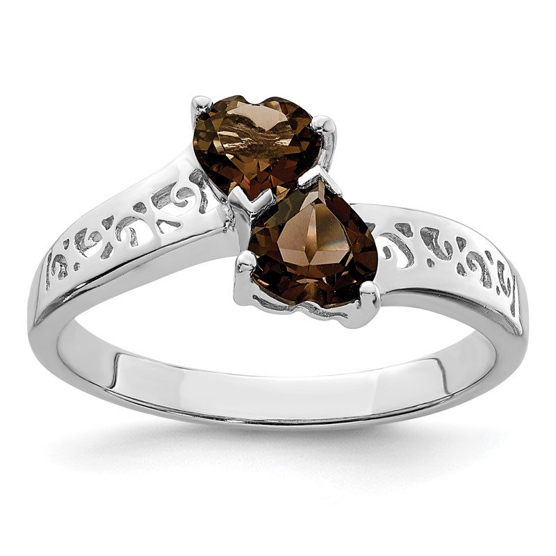 Quality Gold Sterling Silver Rhodium Smoky Quartz Heart Ring