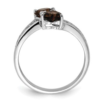 Sterling Silver Rhodium Smoky Quartz Heart Ring