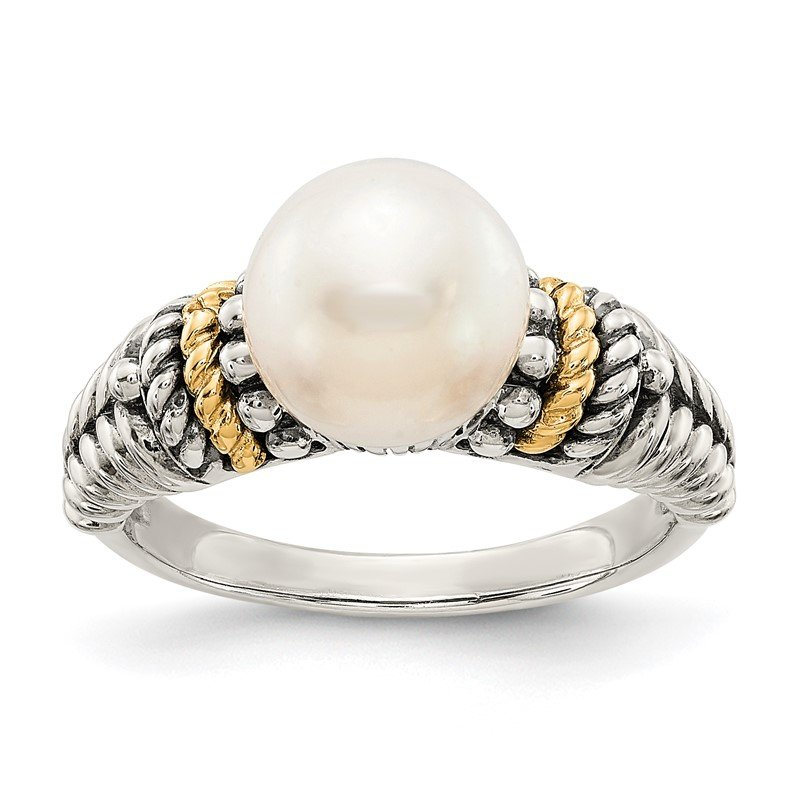 Quality Gold Sterling Silver w/14k 8mm FW Cultured Pearl Ring