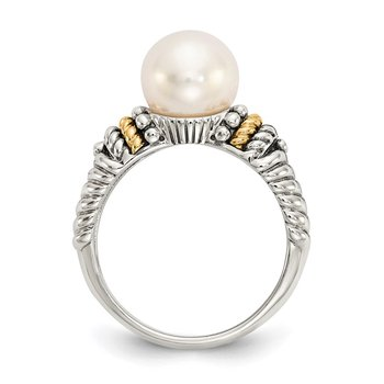 Sterling Silver w/14k 8mm FW Cultured Pearl Ring