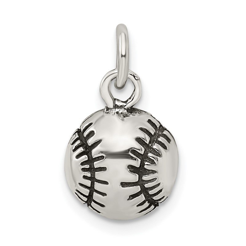 Arizona Diamond Center Collection Sterling Silver Antiqued Baseball Charm