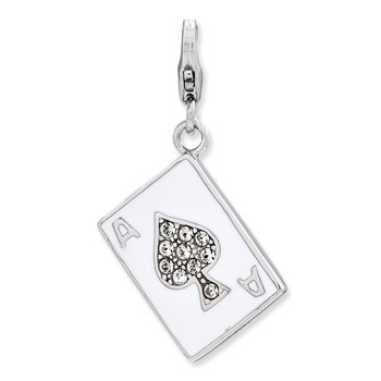 Sterling Silver Enameled 3-D Ace w/Lobster Clasp Charm