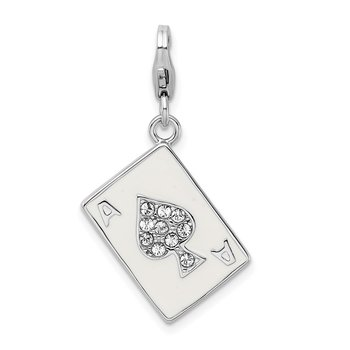 Sterling Silver Amore La Vita Rhodium-pl Polished Enameled 3-D Ace Charm