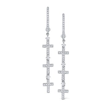 14K Gold and Diamond Triple Cross Earrings