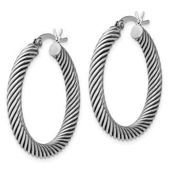Sterling Silver Antiqued 3.25x30mm Twist Hoop Earrings