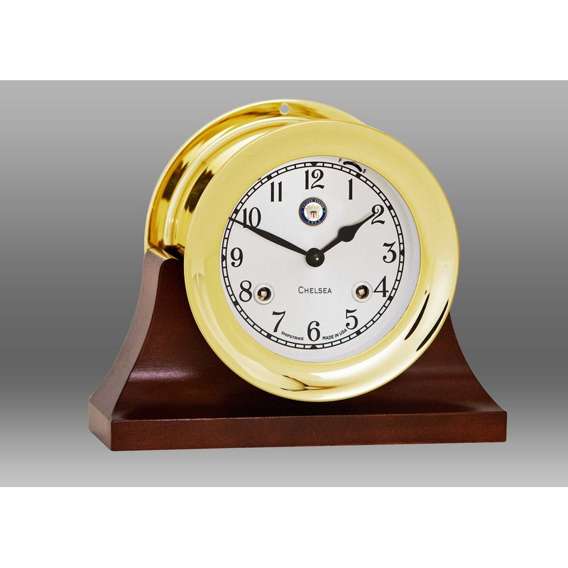 "Chelsea Clocks US Navy 4 1/2"" Shipstrike Clock in Brass on Contemporary Base"