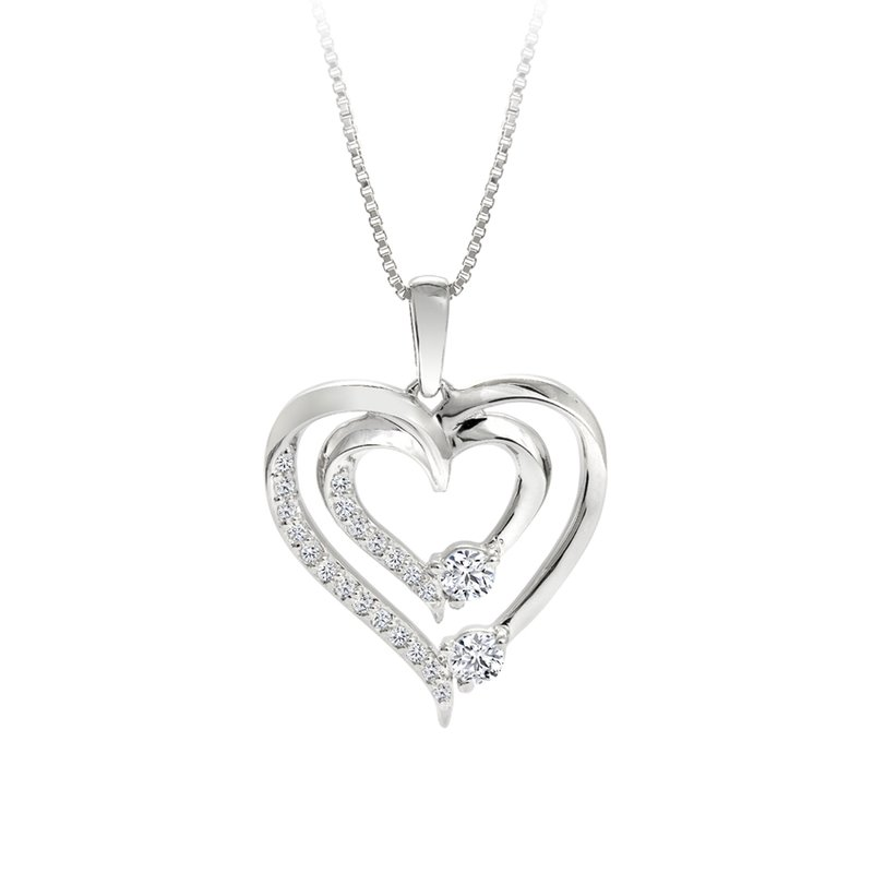 Double Heart Diamond Pendant