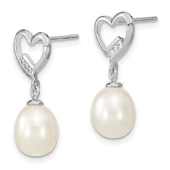Sterling Silver Rhodium-plated 7-8mm Rice FWC Pearl CZ Heart Earrings