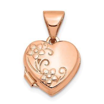 14k Rose Gold 10mm Floral Heart Locket