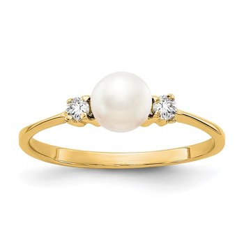 14k 5mm FW Cultured Pearl A Diamond ring