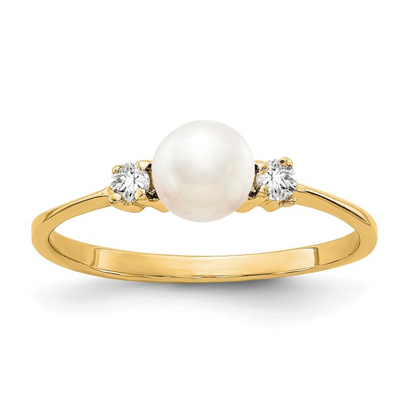 Quality Gold 14k 5mm FW Cultured Pearl A Diamond ring