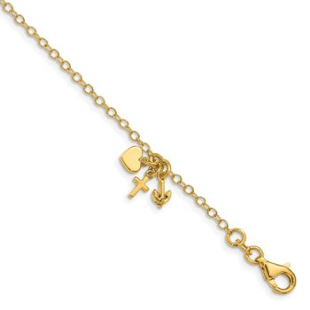14K Polished Heart Anchor Cross Dangle Bracelet