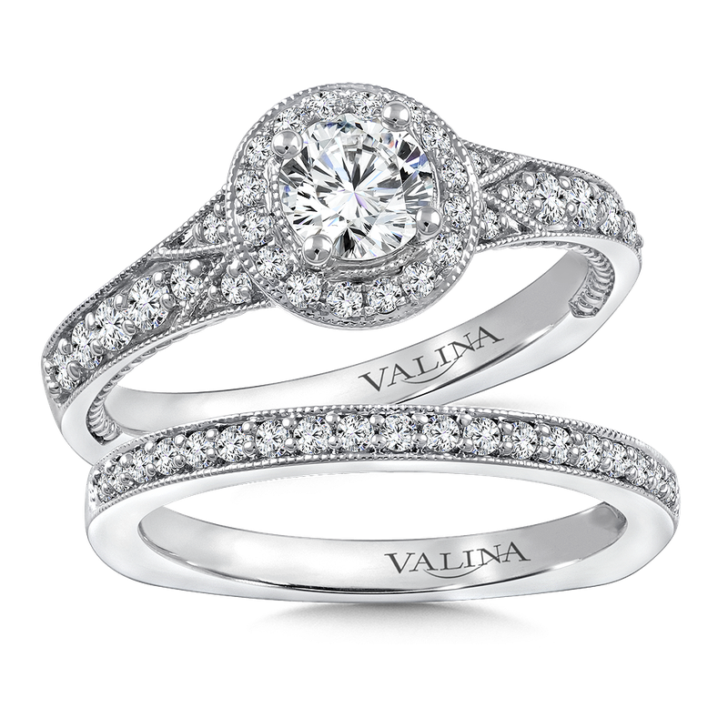 Diamond Halo Engagement Ring Mounting in 14K White Gold (.35 ct. tw.)