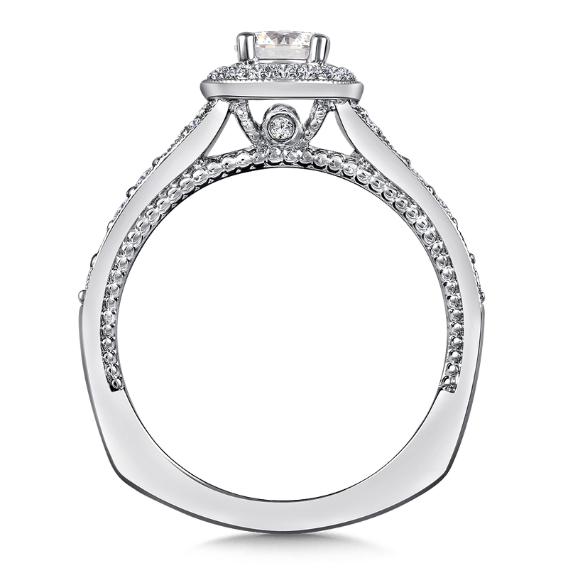 Valina Diamond Halo Engagement Ring Mounting in 14K White Gold (.35 ct. tw.)