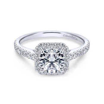 14k White Gold Petite Diamond Halo Engagement Ring and French Pave Shank