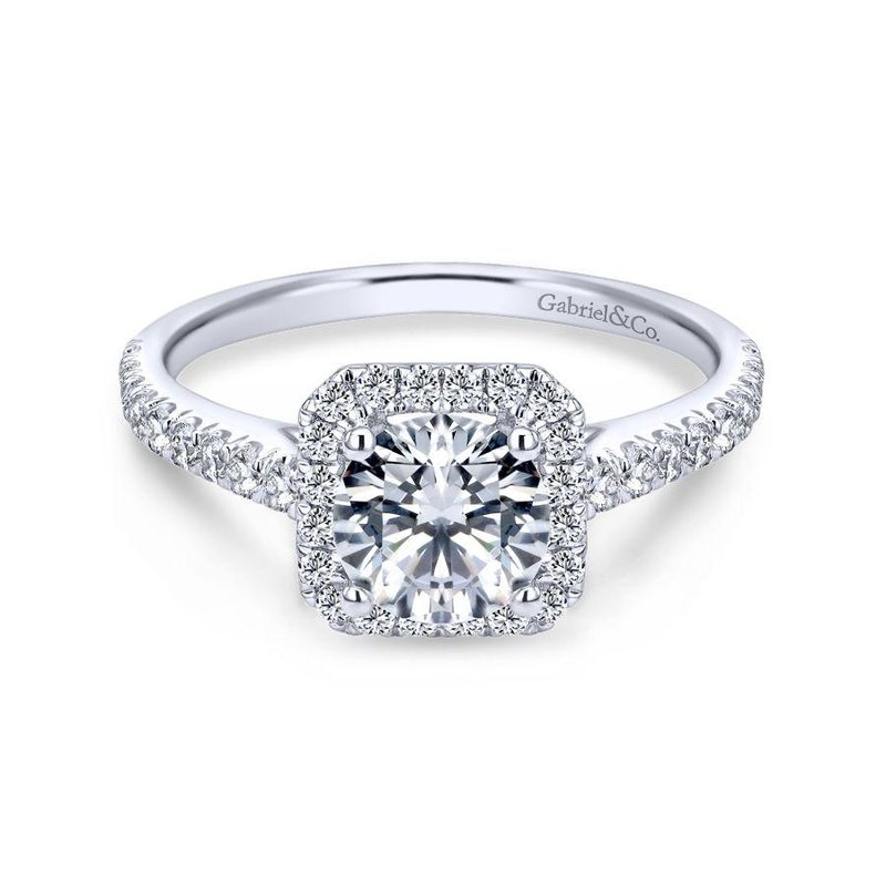 Gabriel  14K White Gold Cushion Halo Round Diamond Engagement Ring