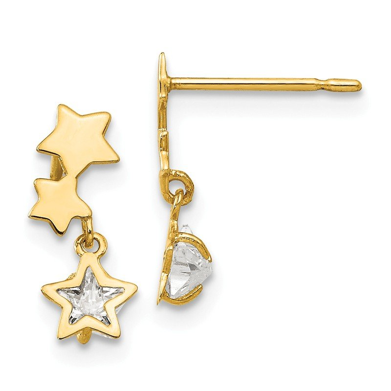 Quality Gold 14k Madi K CZ Children's Star Dangle Post Earrings
