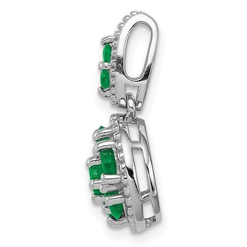 Sterling Silver Rhodium-plated & Emerald Circle Pendant
