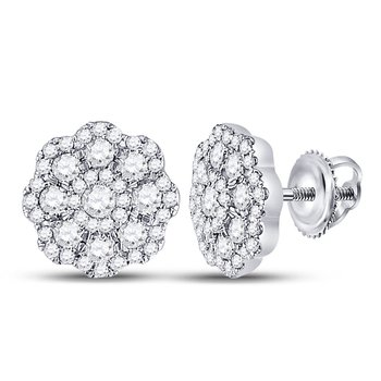14kt White Gold Womens Round Diamond Cluster Screwback Earrings 3/4 Cttw