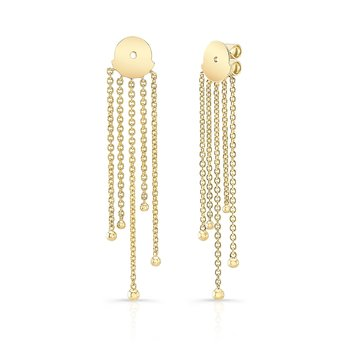 Yellow Gold Forevermark Beaded Fringe Ear Jacket
