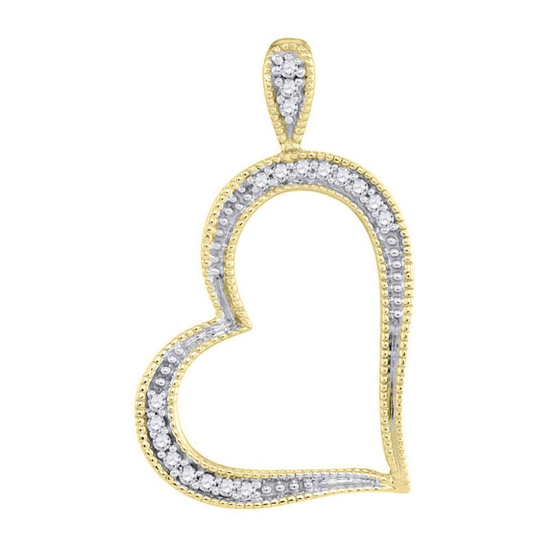Kingdom Treasures 10kt Yellow Gold Womens Round Diamond Milgrain Open-center Heart Pendant 1/20 Cttw