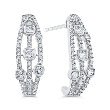 Round Cut Diamond Gold Fashion Earrings