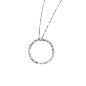 18Kt Gold Small Diamond Circle Pendant