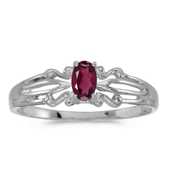 14k White Gold Oval Rhodolite Garnet Ring